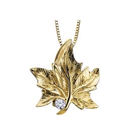 Maple Leaf Diamonds Yellow Gold (0.03ct) Canadian Diamond Maple Leaf Pendant