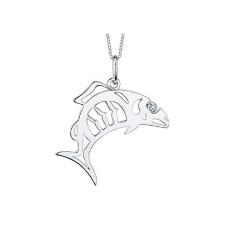 Maple Leaf Diamonds 10K White Gold (0.02ct) Canadian Diamond Indigenous Fish Symbol Pendant