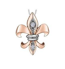 Maple Leaf Diamonds 10K Rose Gold (0.05ct) Canadian Diamond Fleur De Lis Pendant