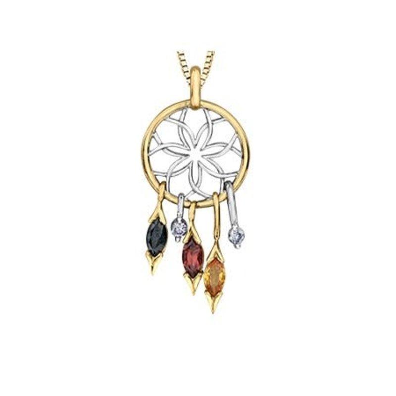 Maple Leaf Diamonds 10K Yellow and White Gold (0.06ct) Canadian Diamond and Gemstones Dream Catcher Pendant