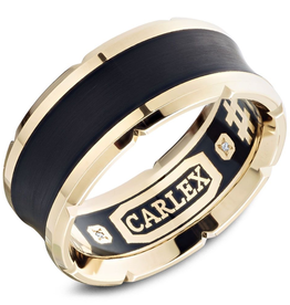 Carlex Carlex 4th Generation 18K Yellow Gold and Black Carbon Inlay Ring