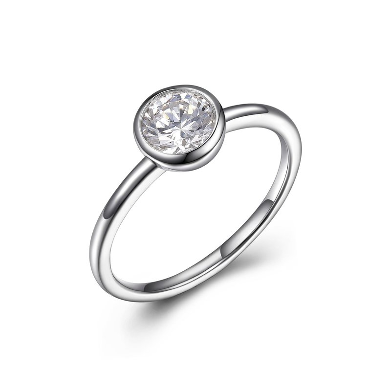 Reign Reign Sterling Silver Bezel Set CZ Ring