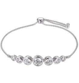 Reign Reign Sterling Silver Adjustable Bezel Set CZ Bracelet