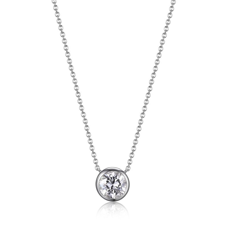 Reign Reign Sterling Silver Bezel Set CZ Necklace