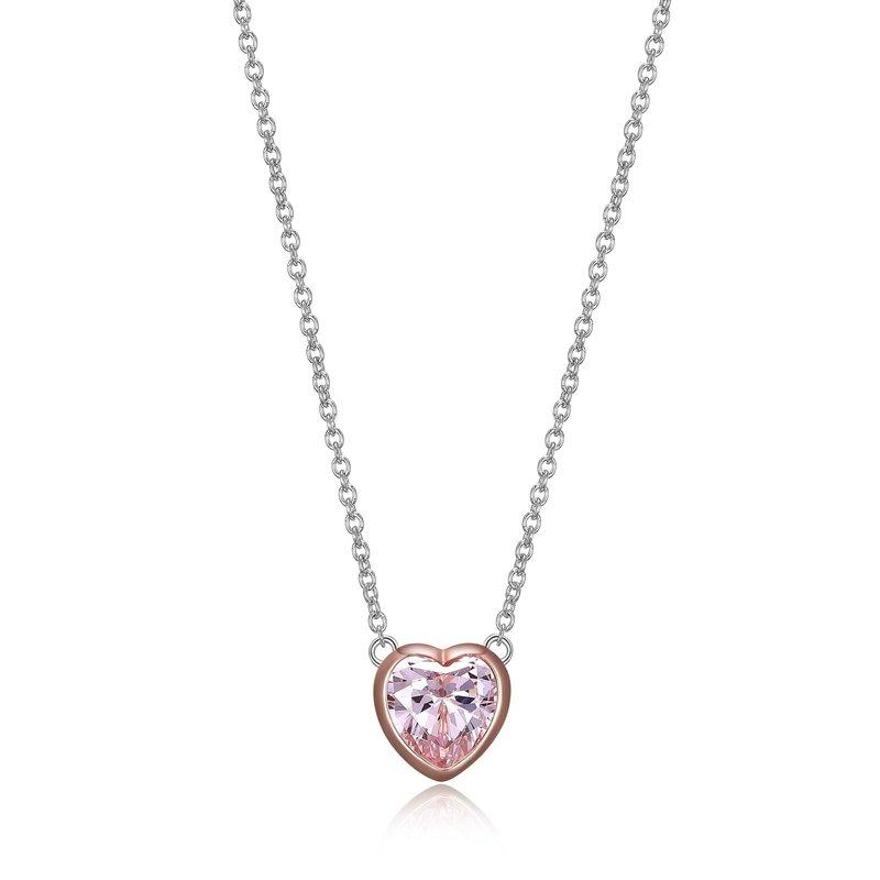 Reign Reign Sterling Silver Bezel Set Heart Pink CZ Necklace