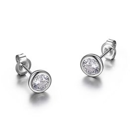 Reign Reign Sterling Silver (6.5mm)  Bezel Round CZ Earrings