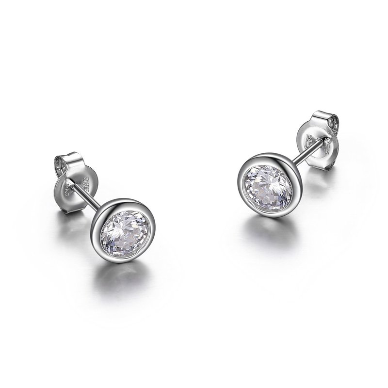 Reign Reign Sterling Silver Bezel Round CZ Earrings