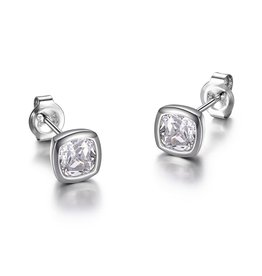 Reign Reign Silver Bezel Princess Cut CZ Stud Earrings