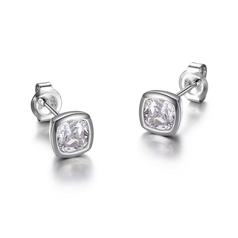 Reign Reign Silver Bezel Princess Cut CZ Stud Earrings