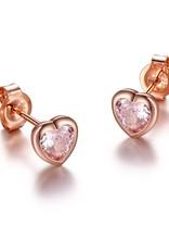 Reign Reign Sterling Silver Pink Heart CZ Earrings