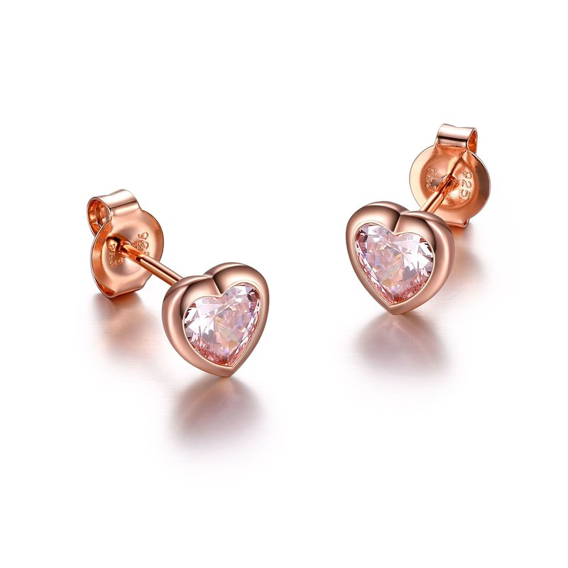 Reign Reign Sterling Silver Pink Heart CZ Earrings
