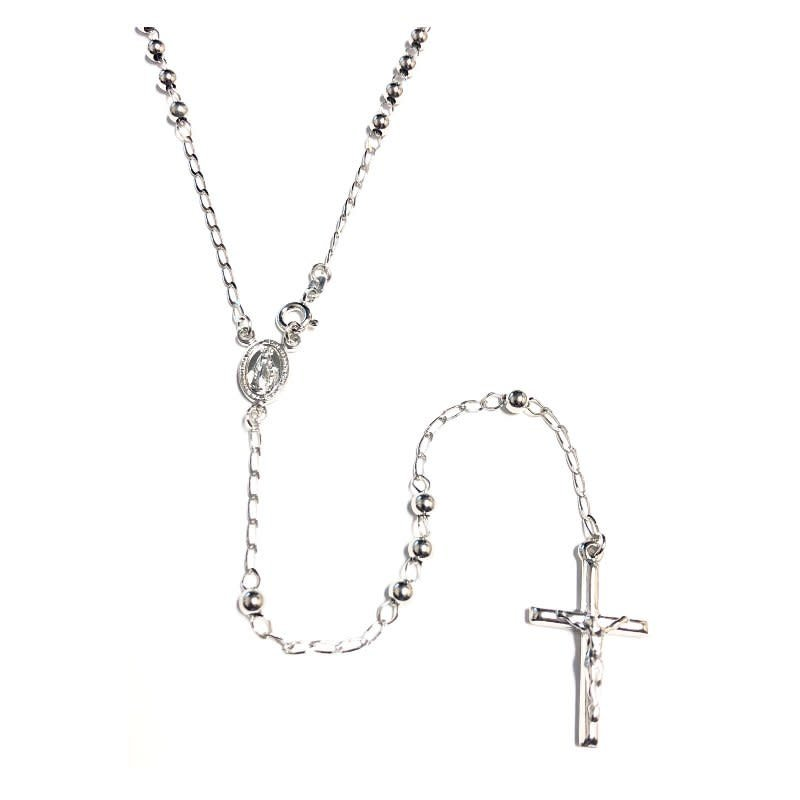 Sterling Silver Rhodium Plated Rosary Necklace