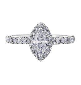 18K Palladium White Gold (1.00ct) Marquise Shaped Diamond Halo Engagement Ring
