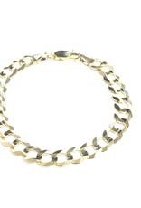 "10K Yellow Gold 8.5mm Mens Curb Bracelet 8"""