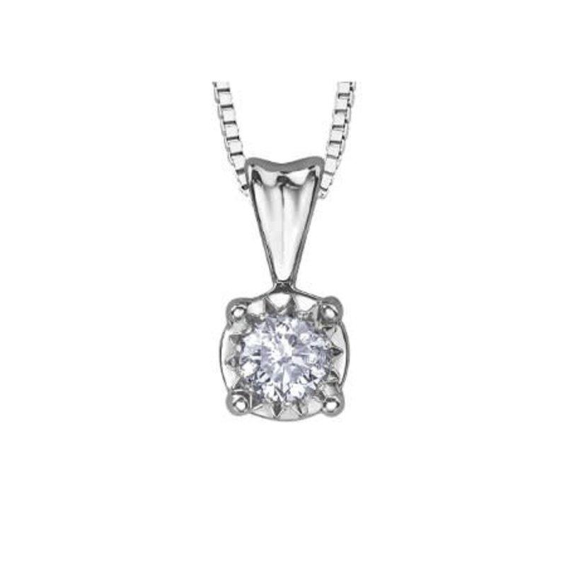 10K White Gold (0.07ct) Illusion Setting Diamond Solitaire Pendant