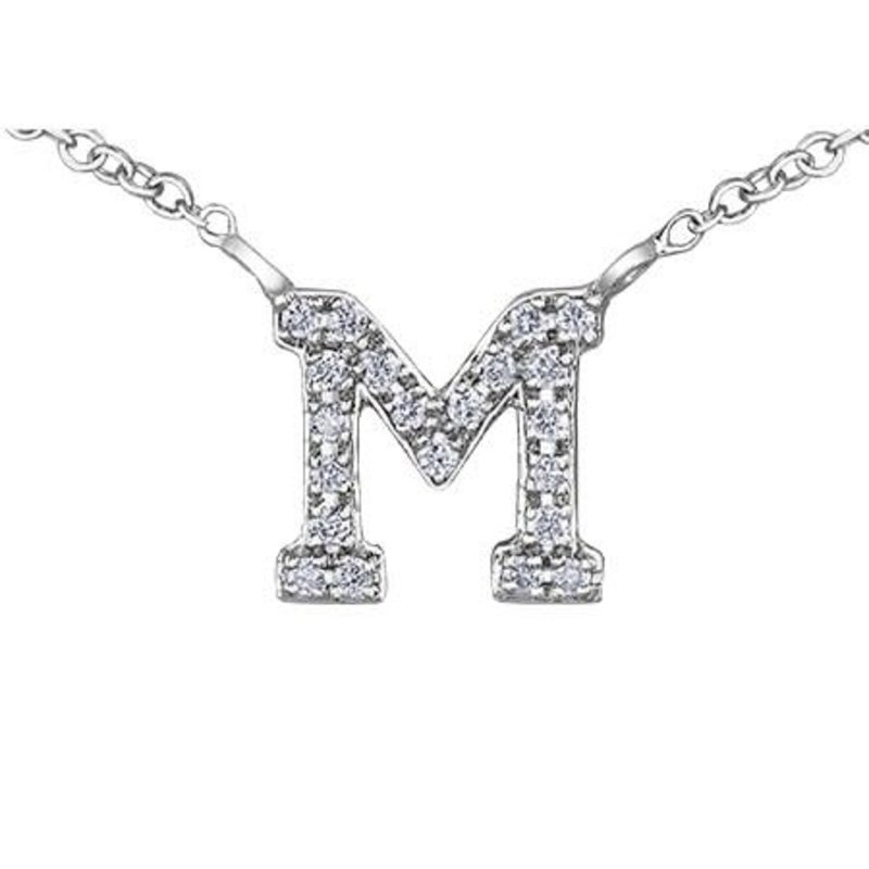White Gold Initial M Diamond Necklace