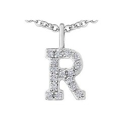 White Gold Initial R Diamond Necklace
