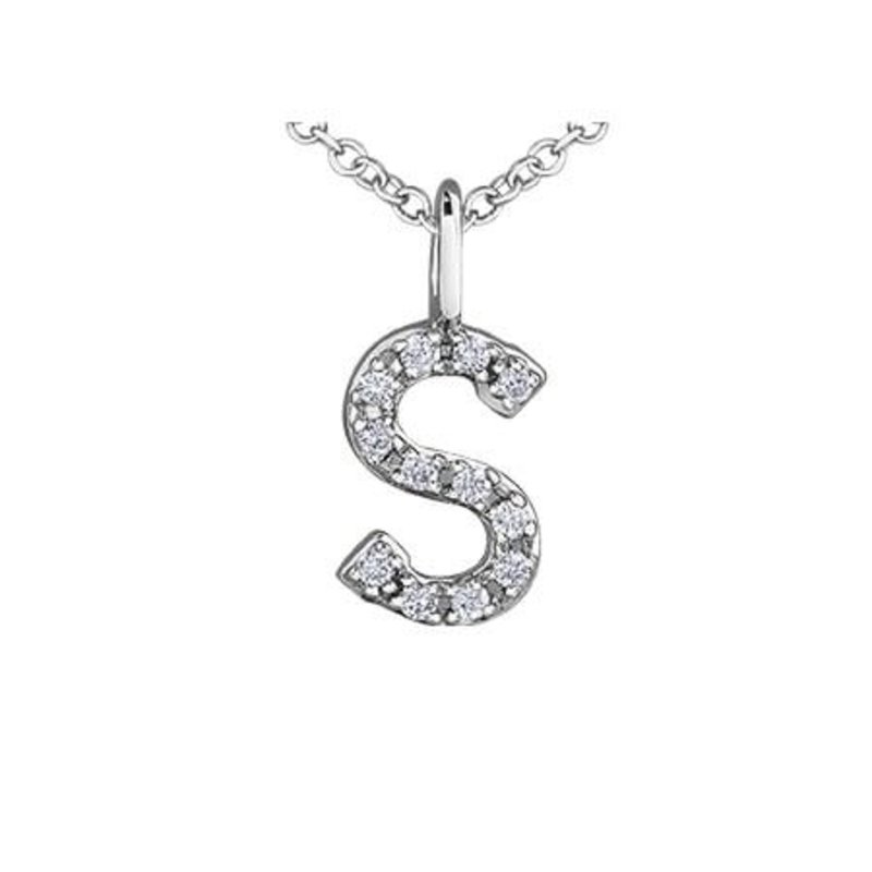 White Gold Initial S Diamond Necklace