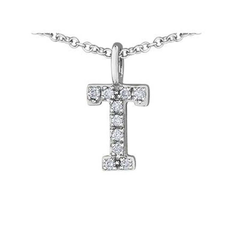 White Gold Initial T Diamond Necklace