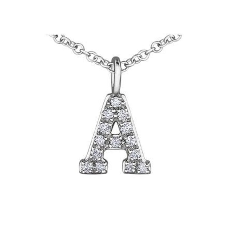 White Gold Initial A Diamond Necklace