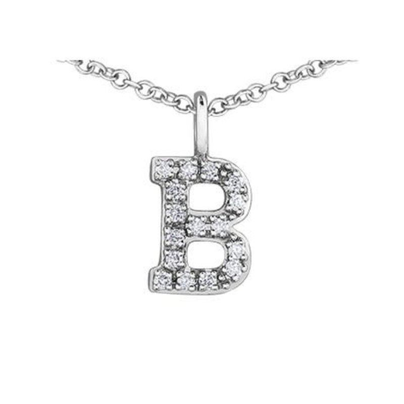 White Gold Initial B Diamond Necklace
