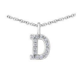 White Gold Initial D Diamond Necklace