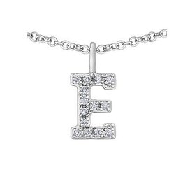 White Gold Initial E Diamond Necklace