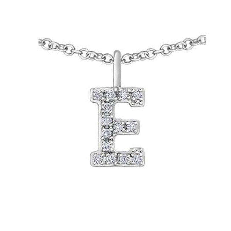 White Gold Initial E Diamond Necklace