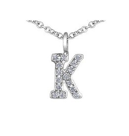 White Gold Initial K Diamond Necklace