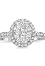 14K Two Tone Oval Shaped Halo Cluster (0.50ct) Diamond Engagement Ring