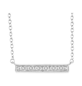 Sterling Silver (0.05ct) Horizontal Bar Necklace