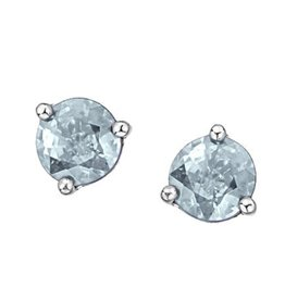 White Gold Martini Set Aquamarine Stud Earrings