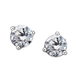 White Gold Martini Set White Topaz Stud Earrings