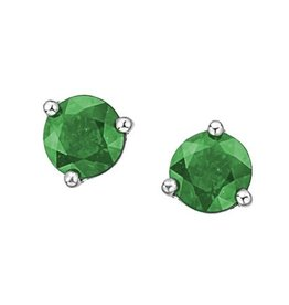 White Gold Martini Set Emerald Stud Earrings