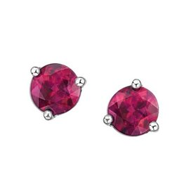 White Gold Martini Set Pink Topaz Stud Earrings