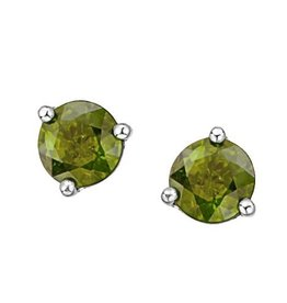 White Gold Martini Set Peridot Stud Earrings
