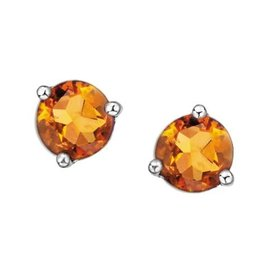 White Gold Martini Set Citrine Stud Earrings