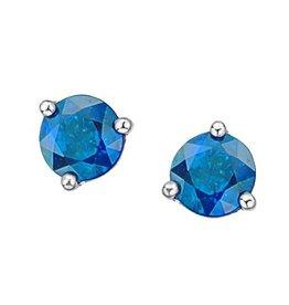 White Gold Martini Set Blue Topaz Stud Earrings