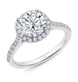 Lafonn Lafonn Sterling Silver Platinum Plated Simulated Diamonds Halo Engagement Ring