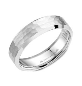 Torque White Cobalt (6mm) Hammered Finish Bevelled Mens Ring