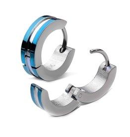 Blue Stainless Steel Blue Hinged Hoop Earrings
