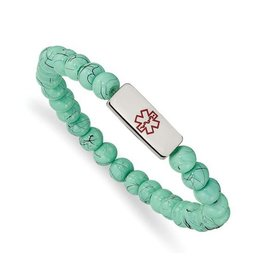 Stainless Steel Medical ID Plate Turquoise Glass Beaded Bracelet