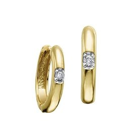 Yellow Gold (0.04ct) Canadian Diamond Hoop Earrings