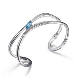 Elle Elle Moon Shadow Sterling Blue Topaz and CZ Bangle