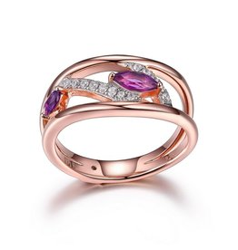 Elle Elle Moon Shadow Sterling Silver Rose Gold Plated Genuine Marquise Shape Amethyst and CZ Ring