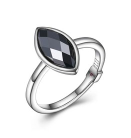 Elle Elle Blink Sterling Silver Rhodium Plated Genuine Checker Board Hematite Marquise Shaped Ring