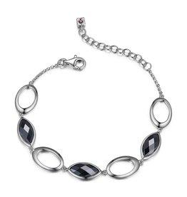 Elle Elle Sterling Silver Hematite Marquise Shaped Bracelet