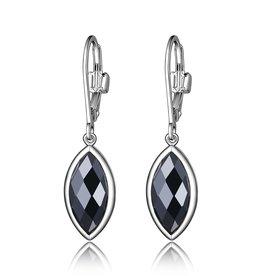 Elle Elle Blink Sterling Silver Rhodium Plated Hematite Leverback Dangle Earrings