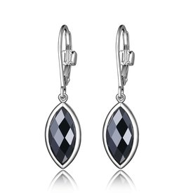 Elle Elle Sterling Silver Hematite Marquise Shaped Dangle Earrings