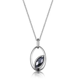 Elle Elle Sterling Silver Hematite Marquise Shaped Necklace